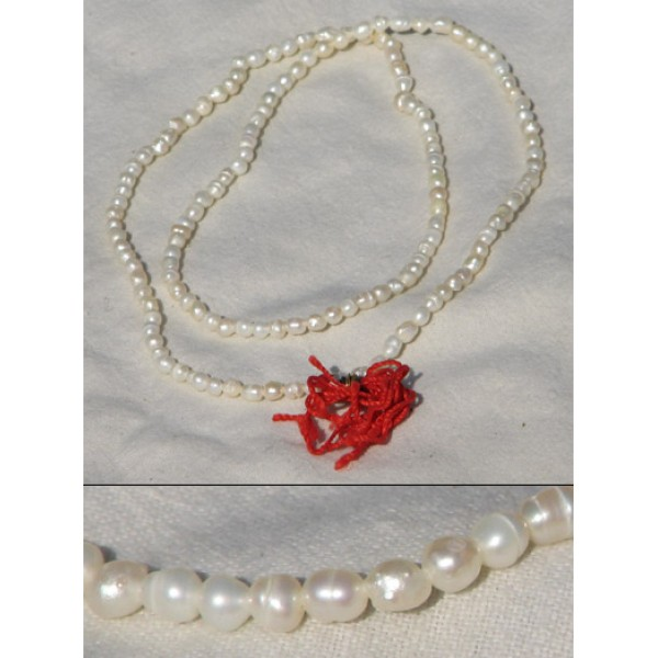 Pearl Mala, 24 Inches; (Natural Oval Beads)