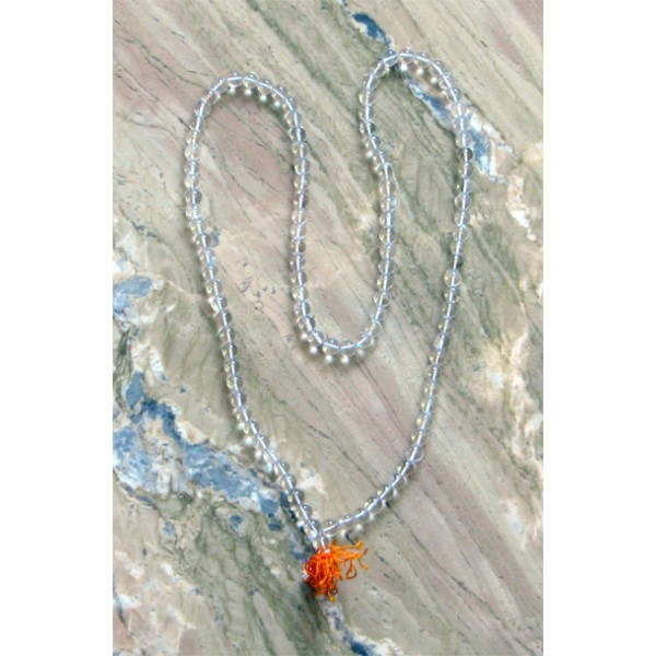 Sphatika Mala (Crystal), 35 Inches; Large Beads (Smooth & Round)